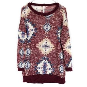 J Mode Womens Sweater Nordic Print Red 3XL AB